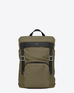SAINT LAURENT Buckle Backpacks U MOON Rucksack in Khaki and Black Nylon and Black Leather f