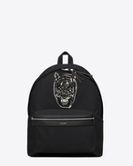 SAINT LAURENT Backpack U CITY Tiger Patch Backpack in Black Canvas Twill, Leather and Nylon f