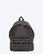 CITY Backpack in Dark Anthracite Crocodile Embossed Leather and Black Nylon
