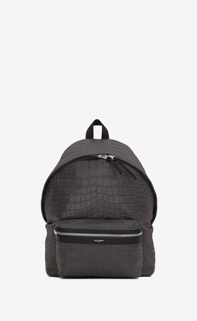 SAINT LAURENT Backpack U CITY Backpack in Dark Anthracite Crocodile Embossed Leather and Black Nylon a_V4