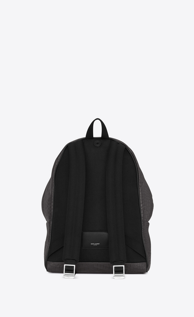 SAINT LAURENT Backpack U CITY Backpack in Dark Anthracite Crocodile Embossed Leather and Black Nylon b_V4