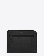 SAINT LAURENT Saint Laurent Paris SLG U RIDER Document Holder in Black Crocodile Embossed Leather f