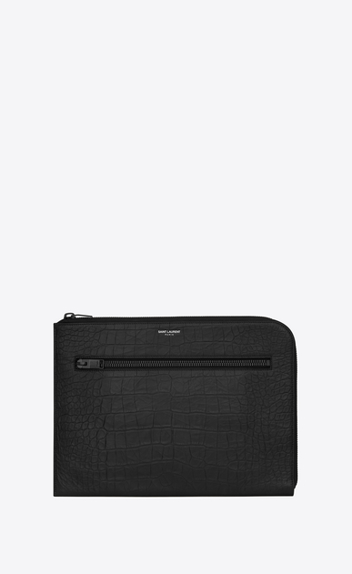 SAINT LAURENT Saint Laurent Paris SLG U RIDER Document Holder in Black Crocodile Embossed Leather a_V4