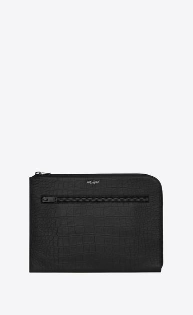 SAINT LAURENT Saint Laurent Paris SLG U RIDER Document Holder in Black Crocodile Embossed Leather v4