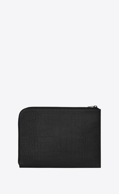 SAINT LAURENT Saint Laurent Paris SLG Man RIDER Document Holder in Black Crocodile Embossed Leather b_V4