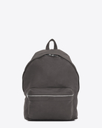 SAINT LAURENT Backpack U zaino city grigio antracite scuro in pelle lavata f