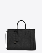 Large SAC DE JOUR Carry All Bag in Black Crocodile Embossed Leather