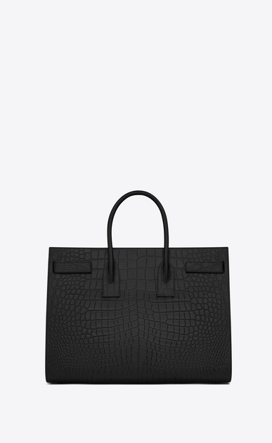 SAINT LAURENT Sac de Jour Men U Large SAC DE JOUR Carry All Bag in Black Crocodile Embossed Leather b_V4
