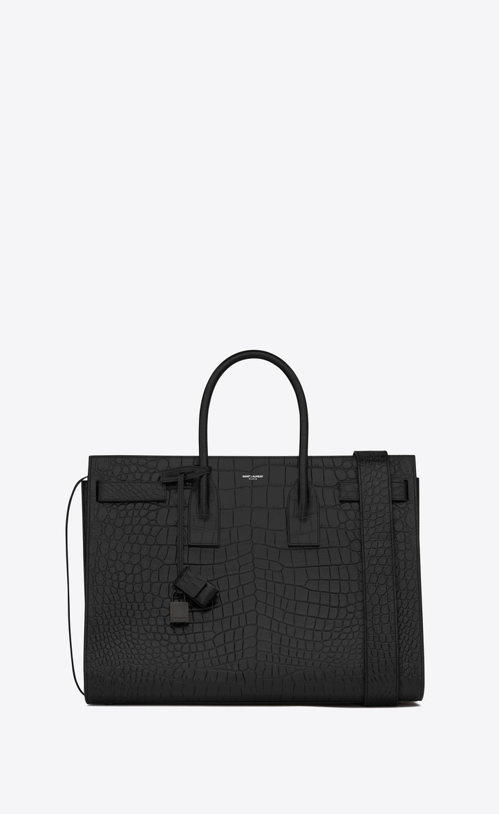 Large Sac De Jour Carry All Bag In Black Crocodile Embossed Leather Front View