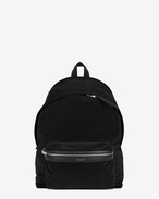 CITY Backpack in Black Cotton Velour, Nylon and Leather