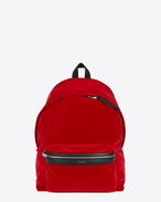 CITY Backpack in Dark Red Cotton Velour and Black Nylon and Leather