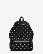 CITY Backpack in Black and Off White Polka Dot Printed Canvas Twill and Black Leather and Nylon