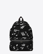 SAINT LAURENT Backpack U CITY Backpack in Black and Ivory Musical Note Printed Twill and Black Nylon and Leather f