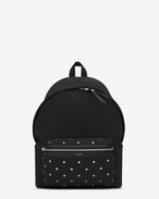 CITY Star Studded Backpack in Black Diagonal Canvas Twill, Leather and Nylon