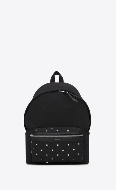 SAINT LAURENT Backpack U CITY Star Studded Backpack in Black Diagonal Canvas Twill, Leather and Nylon a_V4