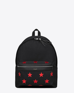 SAINT LAURENT Backpack U CITY CALIFORNIA Backpack in Black Canvas Twill, Red Metallic Grained Leather and Black Nylon f