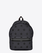 SAINT LAURENT Backpack U CITY CALIFORNIA Backpack in Navy Blue Canvas Twill, Black Metallic Grained Leather and Black Nylon f