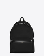 SAINT LAURENT Backpack U Zaino CITY nero in nylon e pelle f