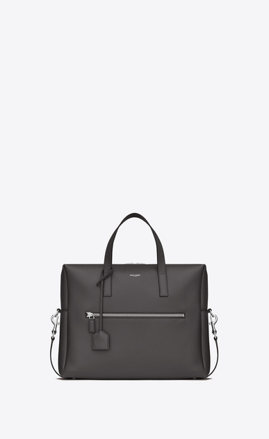 SAINT LAURENT Business Man BOLD Briefcase in Dark Anthracite Leather a_V4