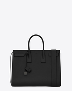 SAINT LAURENT Sac de Jour Men U Grand SAC DE JOUR Carry all en cuir grainé noir f