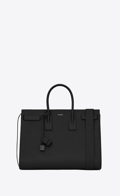 SAINT LAURENT Sac de Jour Men Homme Grand SAC DE JOUR Carry all en cuir grainé noir a_V4