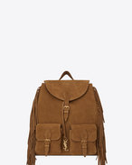 SAINT LAURENT Backpack U FESTIVAL Fringed Backpack in Light Ocher Suede f