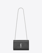 SAINT LAURENT MONOGRAM KATE D satchel medium kate monogramme saint laurent en cuir graphite embossé façon lézard f