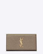 SAINT LAURENT Monogram D Large MONOGRAM SAINT LAURENT Flap Wallet in Grey Grained Metallic Leather f