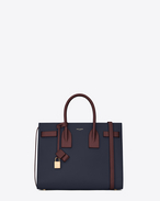 Classic Small SAC DE JOUR Bag in Navy Blue, Dark Green and Bordeaux Grained Leather