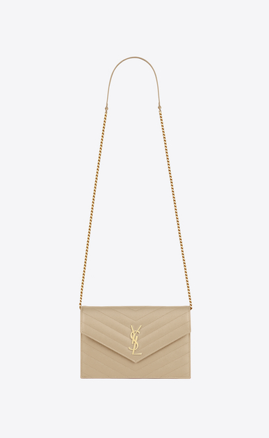SAINT LAURENT Envelope Chain Wallet D monogram envelope chain wallet in powder grain de poudre textured matelassé leather a_V4
