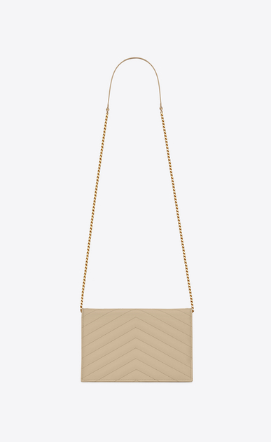 SAINT LAURENT Mini bags Enveloppe Woman envelope chain wallet in powder textured matelassé leather b_V4
