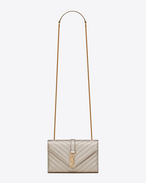 Classic Small MONOGRAM SAINT LAURENT Satchel in Pale Gold Grain De Poudre Textured Matelassé Metallic Leather