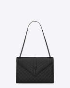 SAINT LAURENT Monogram envelope Bag D Large ENVELOPE Chain Bag in black grain de poudre textured mixed matelassé leather f