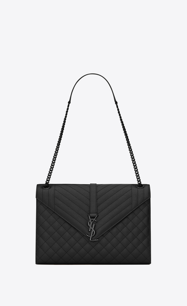 SAINT LAURENT Monogram envelope Bag D Large ENVELOPE Chain Bag in black grain de poudre textured mixed matelassé leather a_V4