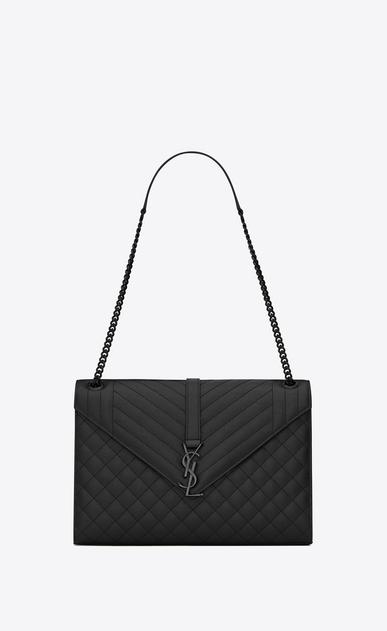 SAINT LAURENT Monogram envelope Bag D Large ENVELOPE Chain Bag in black grain de poudre textured mixed matelassé leather v4