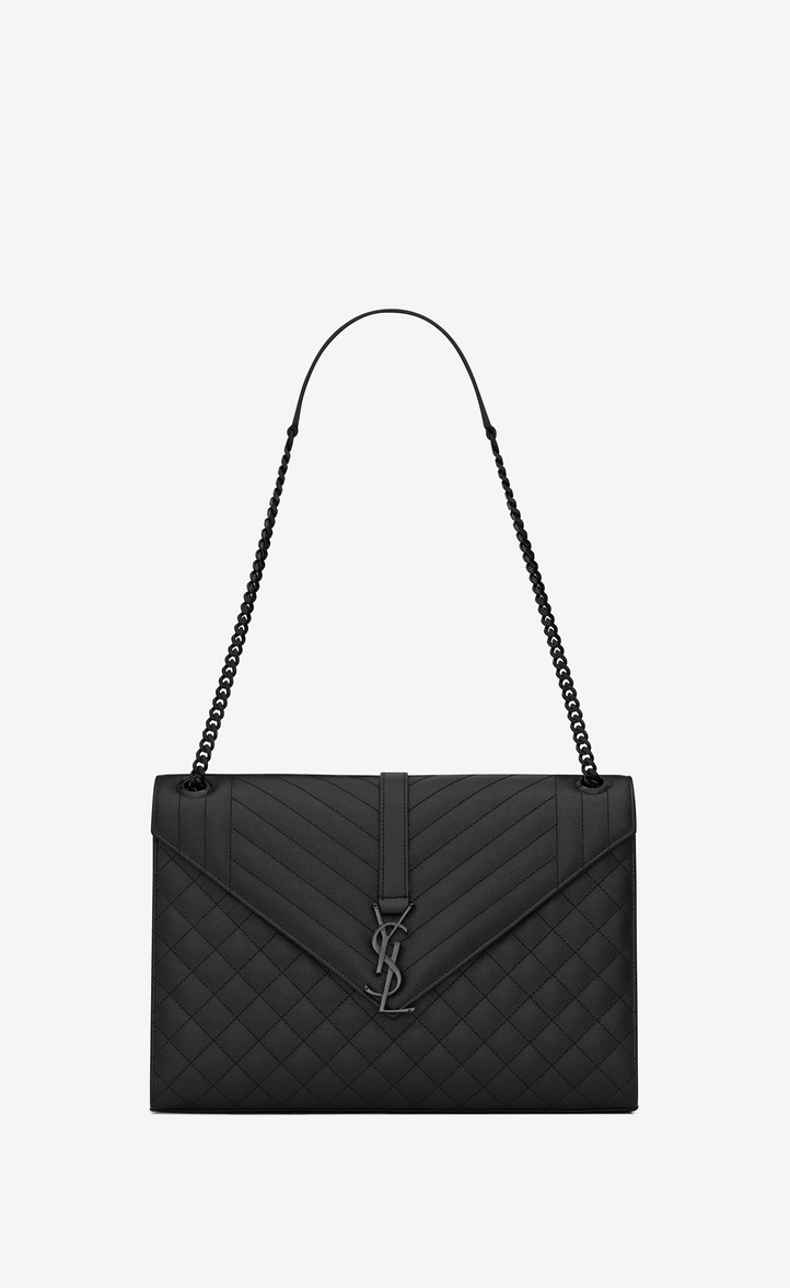5e17d7c8bc4d Saint Laurent Large Envelope Chain Bag In Black Textured Mixed ...