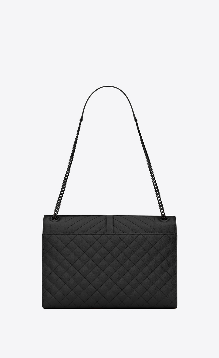 Zoom  large envelope chain bag in black textured mixed matelassé leather 6ef890704c3df
