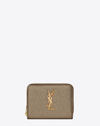 MONOGRAM SAINT LAURENT Compact Zip Around Wallet in Grey Grained Metallic Leather