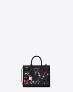 SAINT LAURENT Nano Sac de Jour D Classic Nano SAC DE JOUR Studded Bag in Black and Multicolor Crystal f