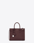 SAINT LAURENT Baby Sac de Jour D Classic Baby SAC DE JOUR Bag in Bordeaux Crocodile Embossed Leather f