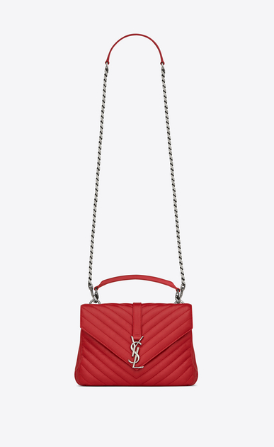 SAINT LAURENT Monogram College D classic medium collège bag in red matelassé leather a_V4