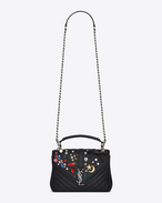 Classic Medium MONOGRAM SAINT LAURENT COLLÈGE Studded Bag nera in pelle matelassé e cristalli multicolori