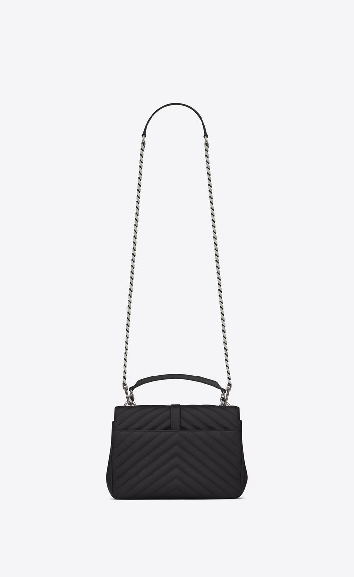 ce79a89655ce Zoom  Classic Medium MONOGRAM SAINT LAURENT COLLÈGE Studded Bag in Black  Matelassé Leather and Multicolor Crystal