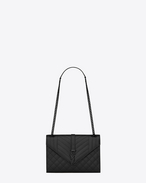 SAINT LAURENT Monogram envelope Bag D classic medium satchel in black grain de poudre textured mixed matelassé leather f