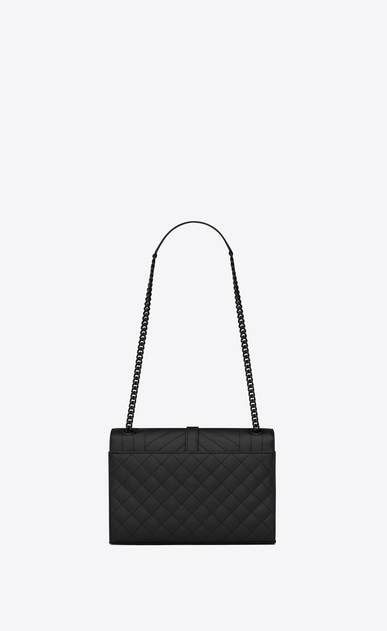 SAINT LAURENT Monogram envelope Bag D classic medium satchel in black grain de poudre textured mixed matelassé leather b_V4