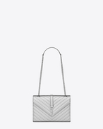 SAINT LAURENT MONOGRAMME SATCHEL D Classic Medium MONOGRAM SAINT LAURENT Satchel color argento in pelle matelassé a texture grain de poudre f