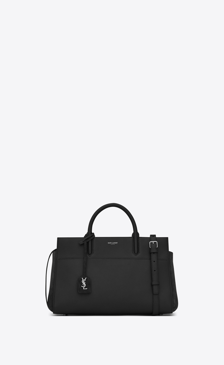 74b85ffe7dc7 Saint Laurent Small CABAS RIVE GAUCHE Bag In Black Grained Leather ...
