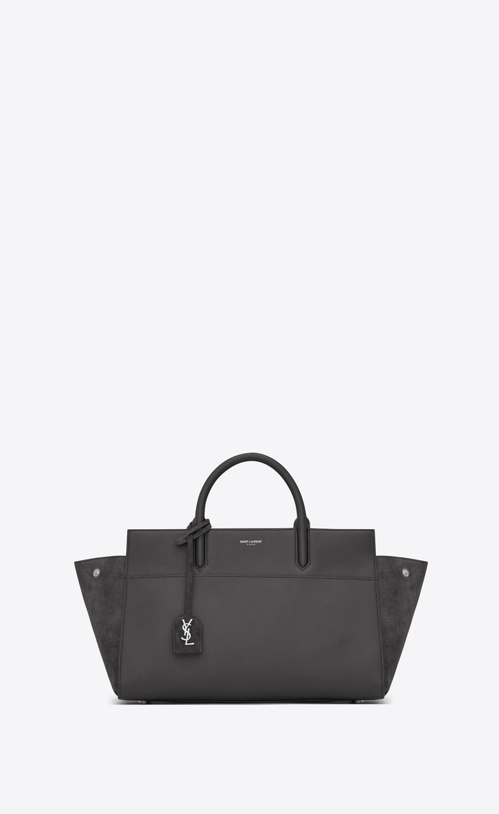 a8394ee03b Zoom  Small CABAS RIVE GAUCHE Bag in Dark Anthracite Grained Leather and  Suede