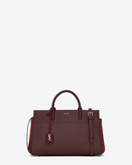 SAINT LAURENT RIVE GAUCHE D Small CABAS RIVE GAUCHE Bag in Bordeaux Grained Leather and Suede f