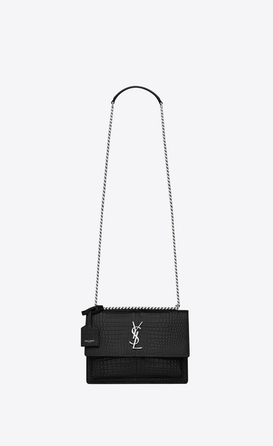 SAINT LAURENT Sunset Femme sac medium sunset en cuir noir brillant embossé façon crocodile a_V4